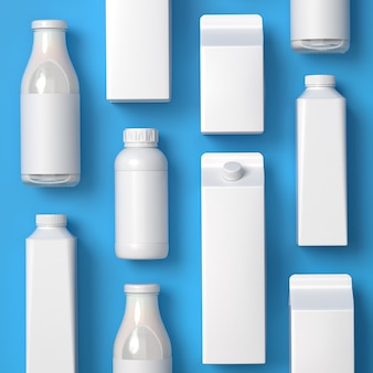 Top viewed types of blank lying milk packaging on the blue background