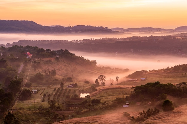 Вид сверху на пейзаж с туманом в као та кин нго, район као кхо, пхетчабун, таиланд