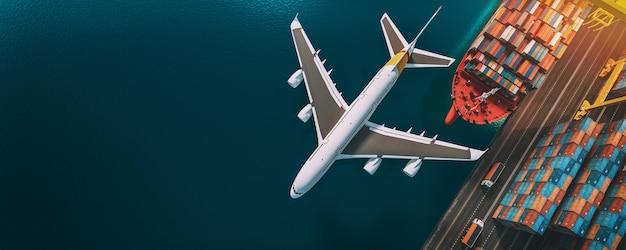 Top viwe перевозки и логистика контейнерных грузовых судов и грузовых самолетов. 3d-рендеринг и иллюстрация.
