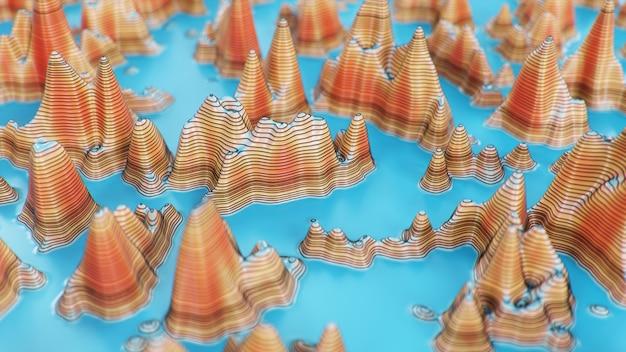 Topographic 3d map of dangerous mountain terrain.