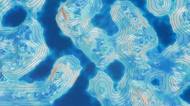 Топографическая карта 3d с водой. контурные линии на топографической карте