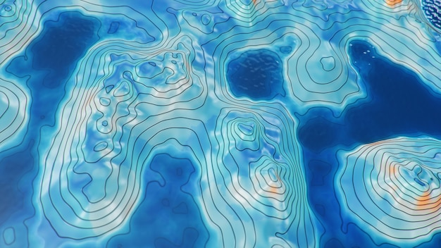 Topographic 3d map with water. contour lines on a topographic map