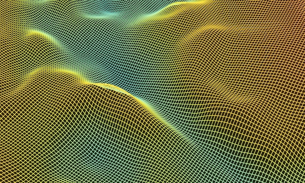 Topographic mountain grid wireframe