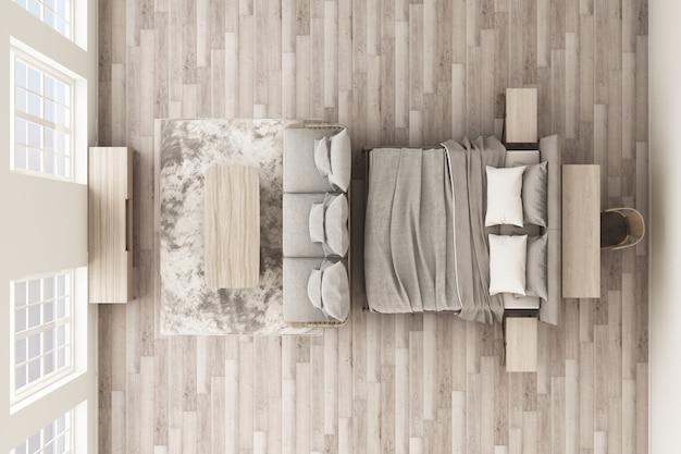 Вид сверху на спальню и гостиную в отеле или квартире в стиле лофт с деревянной мебелью