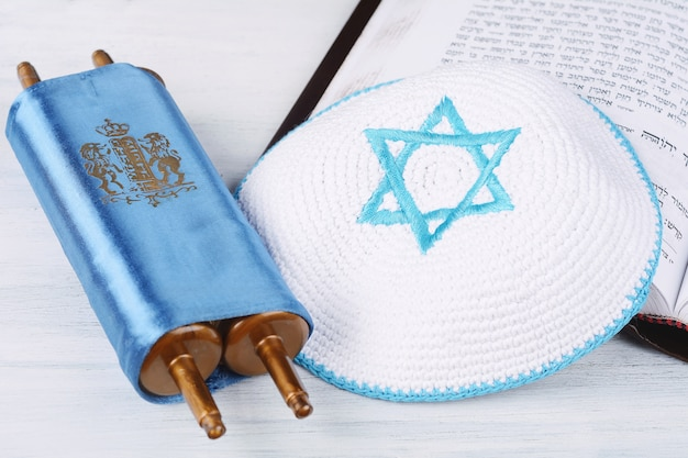 Torah with knitted kippah