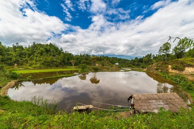 トラジャの風景とスラウェシ島インドネシアの伝統的な村
