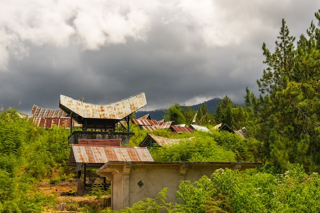 Toraja landscape and traditional village in sulawesi, indonesia