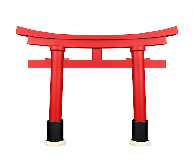 Японские ворота torii, изолированные на белом фоне, 3d-рендеринг