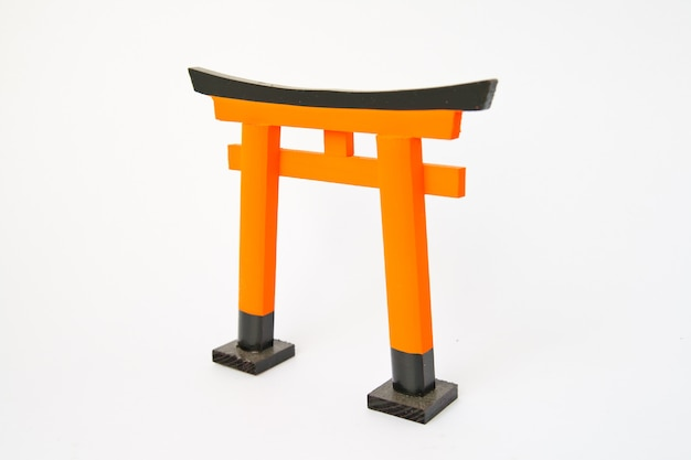 Torii gate traditional japanese gate on white background