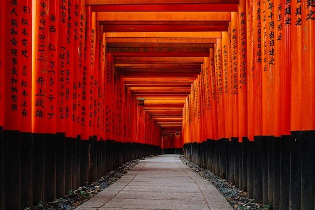 Ворота тории в святилище фусими инари, киото, япония