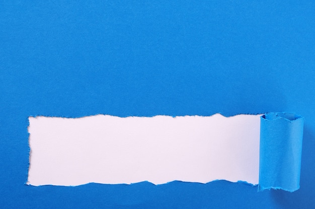 Torn blue paper strip curled edge border frame