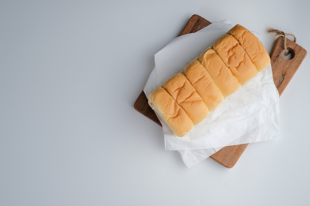 Torn bread filled with beef floss and mayonnaise isolated on white background