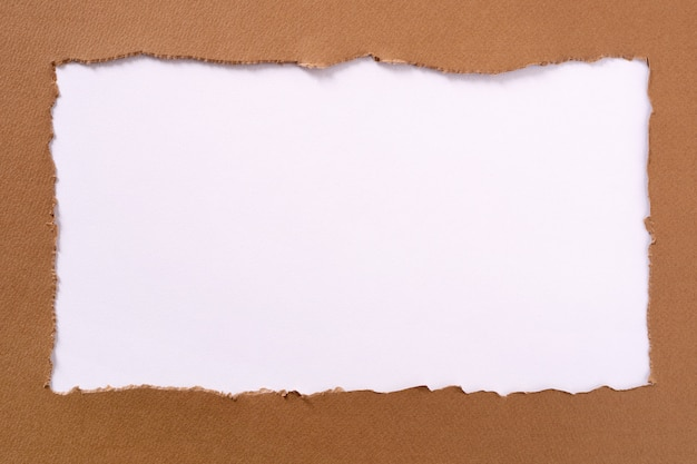 Torn brown paper oblong white background border frame