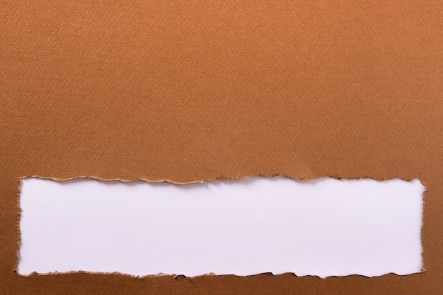 Torn brown paper strip bottom edge header background frame