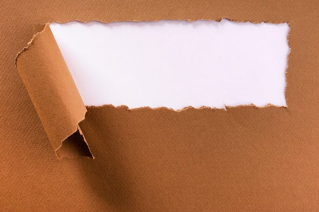 Torn brown paper strip header background frame