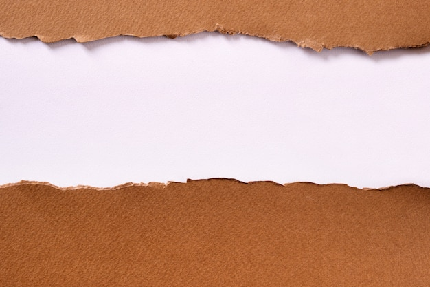 Torn brown paper strip white background
