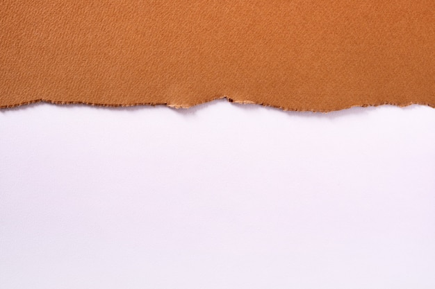 Torn brown paper top edge border white