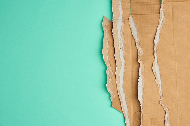 Torn edges of corrugated brown cardboard paper on a green background