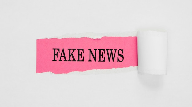 Torn fake news paper on pink and white wall