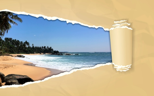 Torn paper with tropical beach in opening background