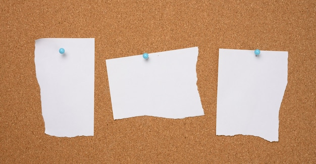 Torn white blank white sheet of paper affixed with a plastic button on a brown cork board, copy space