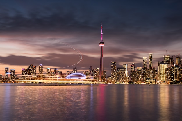 Toronto city skyline at night, ontario, canada