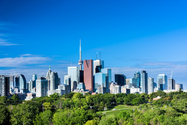 Toronto city view from riverdale avenue in the summer. ontario, canada
