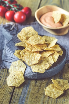 Tortilla chips with chile con queso