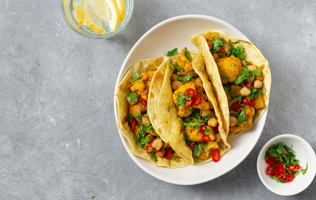 Tortilla with aloo gobi and chickpeas top view