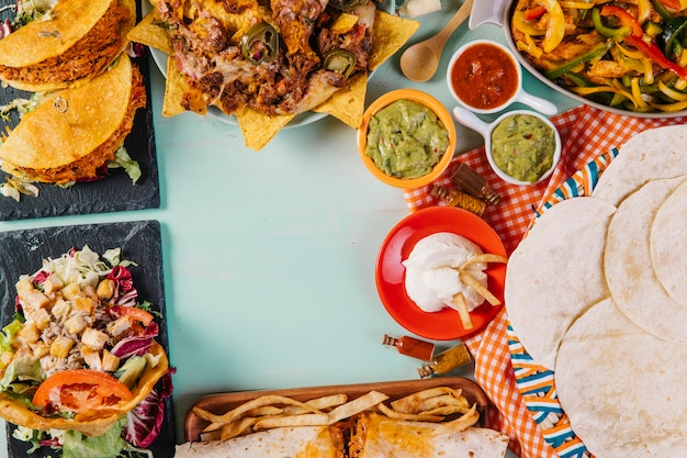 Tortillas and tasty mexican food