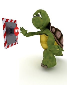 Tortoise pushing a red button