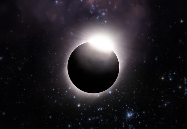 The total solar eclipse, view from outer space with stars of galaxy background . elements of this image furnished by nasa