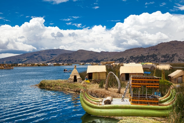 Totora boat on the titicaca lake