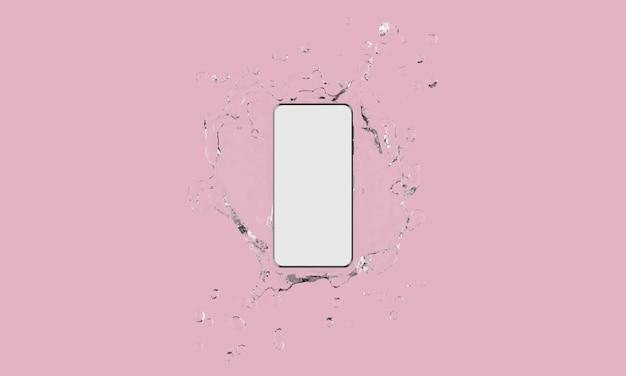 Сенсорный экран мобильного телефона с всплеск воды на розовом фоне
