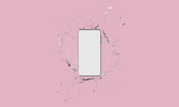 Touch screen mobile phone with water splash on pink background