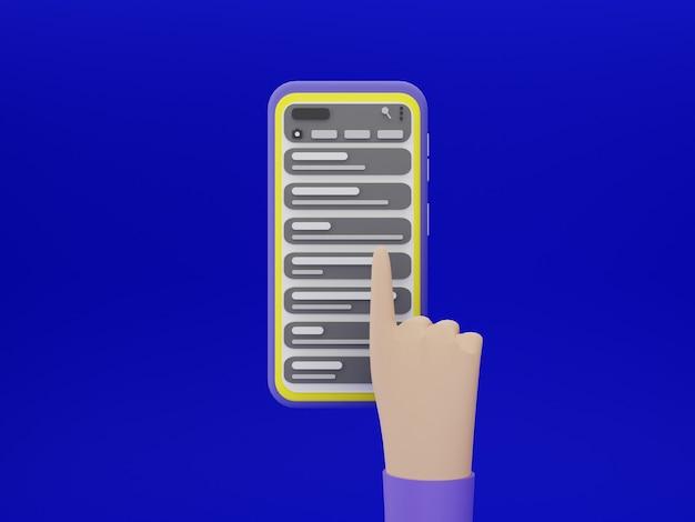 3d 디자인의 채팅 응용 프로그램과 파란색 배경으로 스마트폰 화면을 손으로 터치