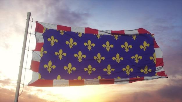 トゥレーヌの旗、フランス、風、空、太陽の背景に手を振っています。 3dレンダリング