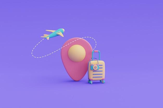 관광 및 여행 개념, 비행기와 여행 가방이 있는 위치 핀, 휴일 휴가, 3d 렌더링.
