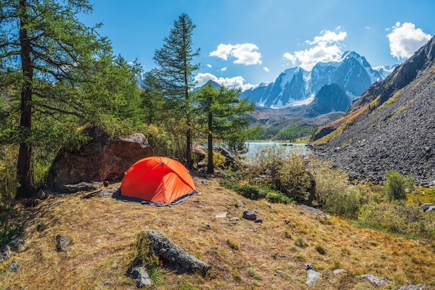 Tourism concept. lonely tent in the mountain forest. orange camping tent on the shore in the sunlight.
