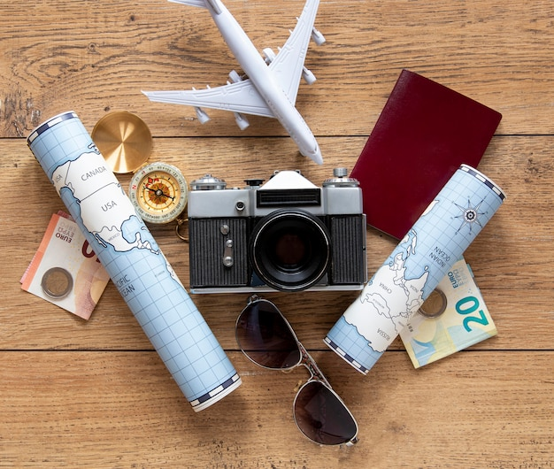 Tourism items assortment above view