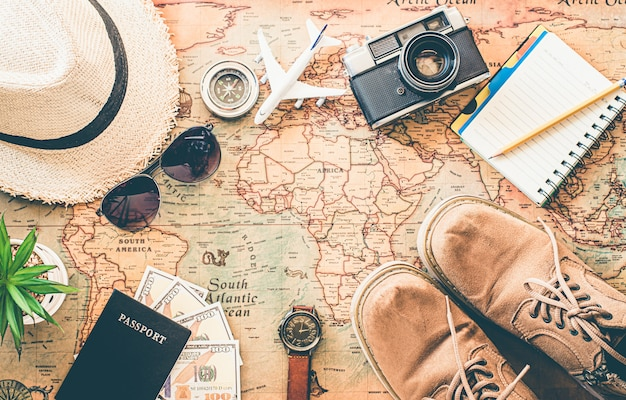 Tourism planning and equipment needed for the trip on map