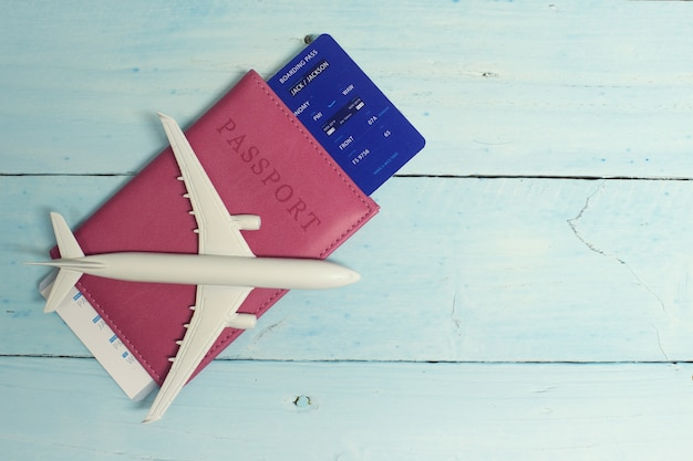 Tourism with an airplane,  passport and tickets