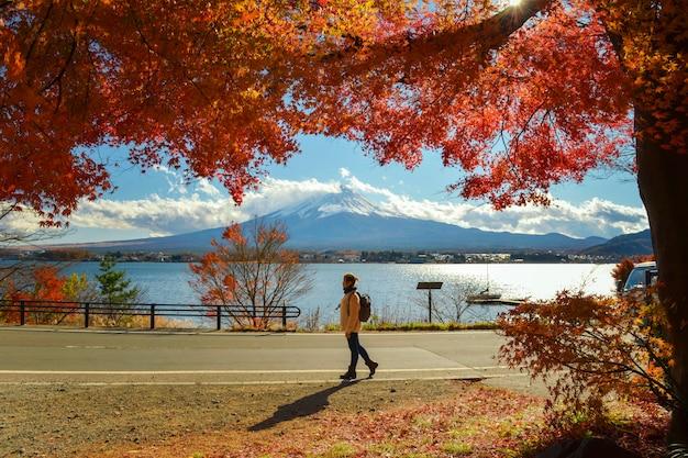 Турист, любуясь mt. фудзи осенью, красочный осенний сезон и гора фудзи с утром и красными листьями на озере кавагутико - одно из лучших мест в японии.