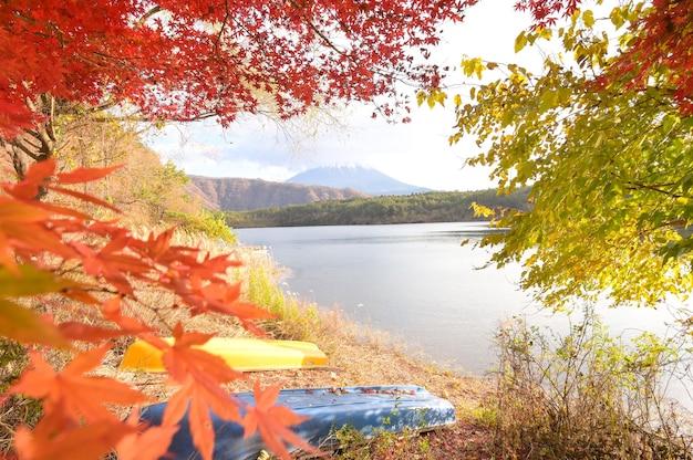 秋の富士山を眺める観光客