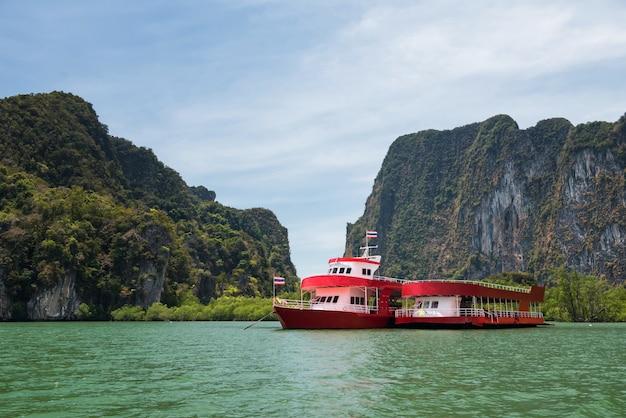 Tourist boat at phang nga, thailand