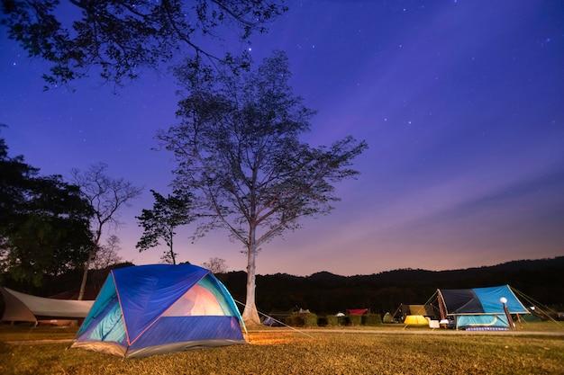 밤에 숲 근처 캠핑 관광. 별이 가득한 아름다운 밤하늘 아래 조명 텐트와 캠프 파이어.