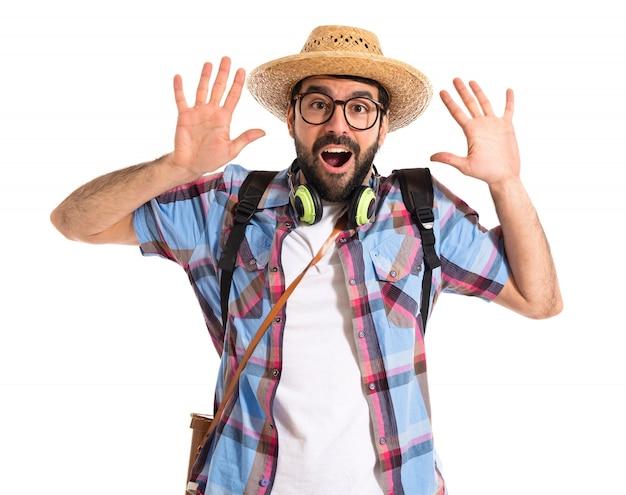 Tourist doing surprise gesture