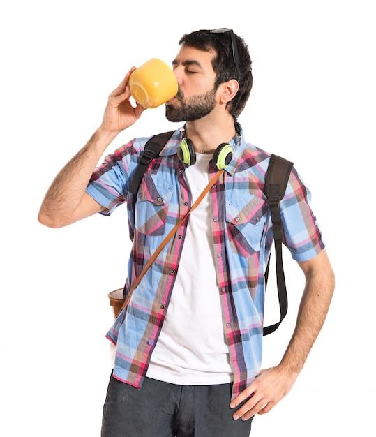 Tourist drinking coffee