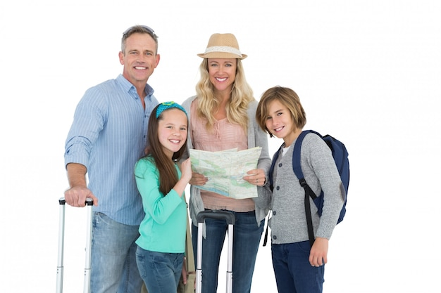 Tourist family consulting the map
