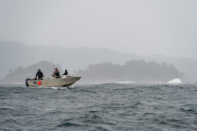 Tourist fishing in the pacific ocean, skeena-queen charlotte regional district, haida gwaii, graham